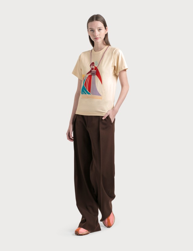 Lanvin Mother And Child Print T-Shirt 02 Ecru Women
