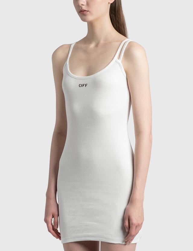 Off-White Basic Ribbed Dress White Black Women