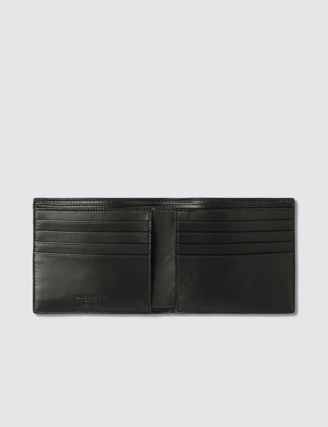 Saint Laurent Croc Embossed Leather Billfold Wallet