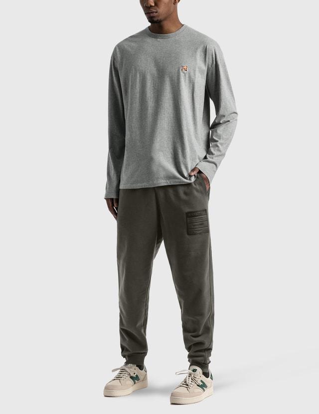 Maison Kitsune Fox Head Patch Long Sleeve T-shirt Grey Men