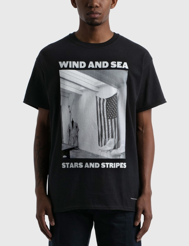 Wind And Sea Stars And Stripes Photo T-shirt Black Men