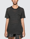 Alexander Wang.T Thin Striped Slub Short Sleeve T-shirt With Pocket Picutre