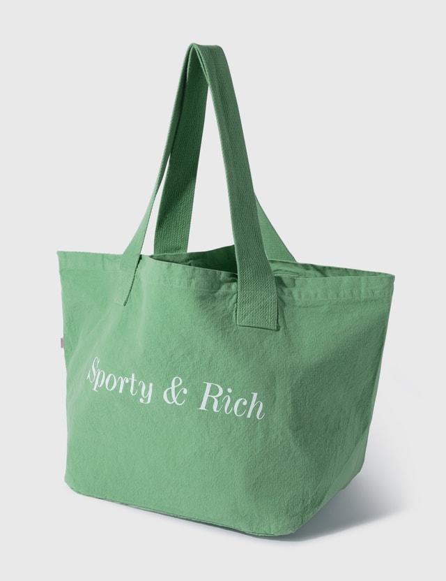 Sporty & Rich Classic Logo Tote Pistachio/white Women