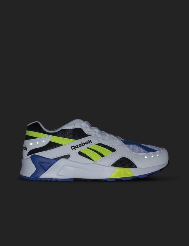 Reebok Aztrek Double 93 Sneaker Og-white/black/crushed Cobalt/solar Yellow Men