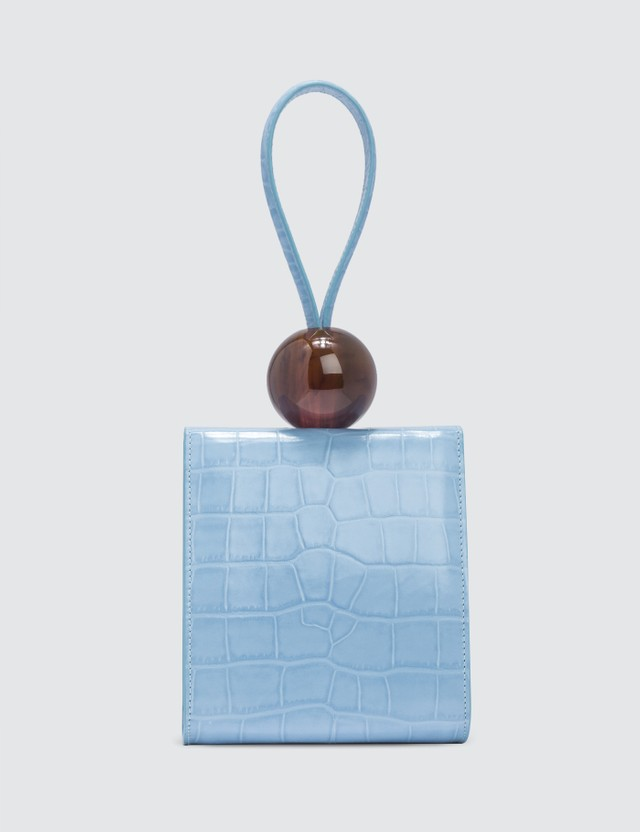 BY FAR Ball Sky Blue Croco Embossed Leather Bag