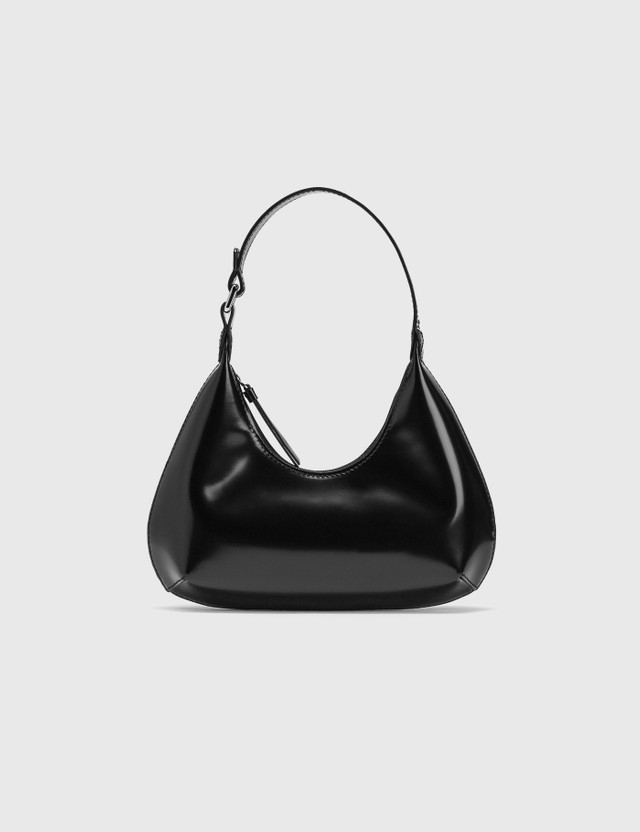 BY FAR Baby Amber Black Semi Patent Leather Bag