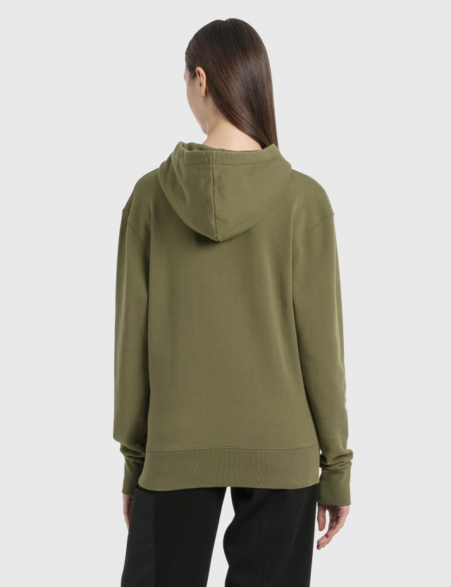 Maison Kitsune Velvet Fox Head Patch Classic Hoodie Khaki Women