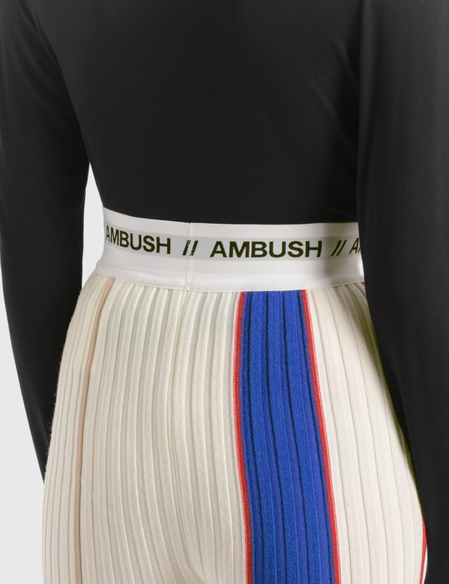 Ambush Ribbed Knit Pants White Multi Women