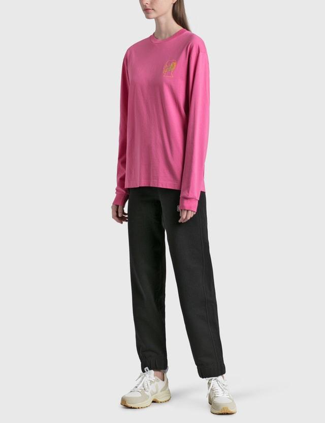 Brain Dead Goop Long Sleeve T-Shirt Washed Pink Women