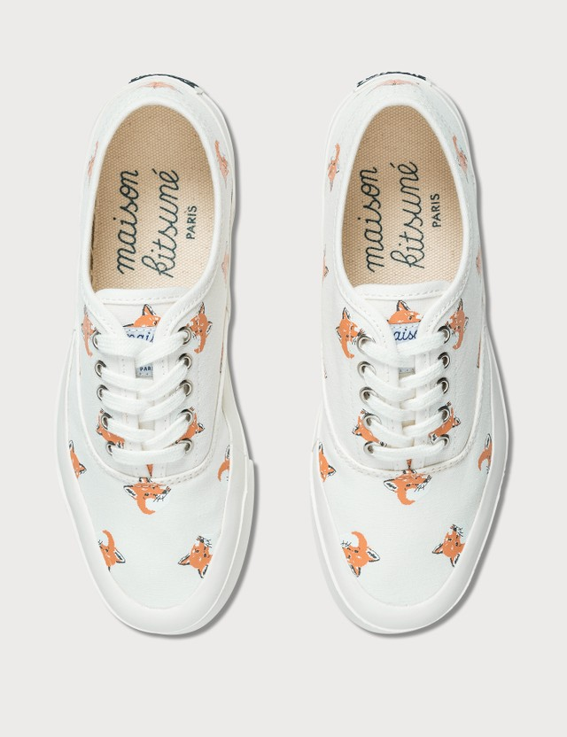 Maison Kitsune All Over Fox Head Laced Sneaker White Women