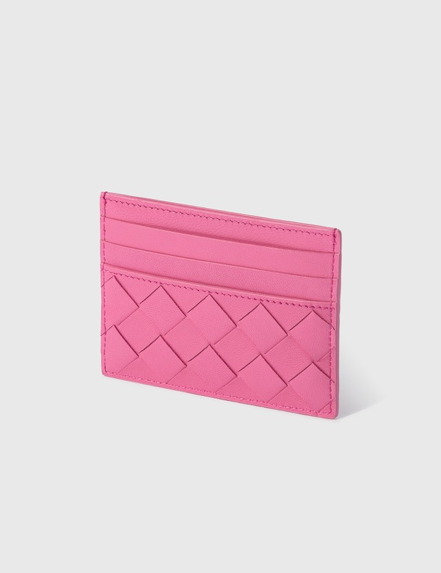 Bottega Veneta Intrecciato Leather Cardholder Pink/pink/pink-silv Women