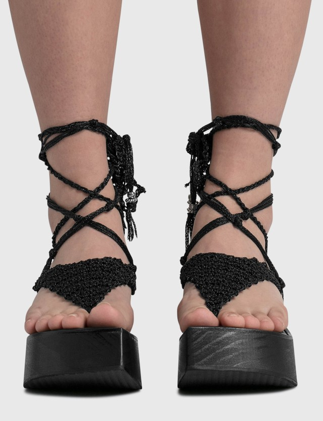 Hyein Seo Crochet Strap Sandal Black Women