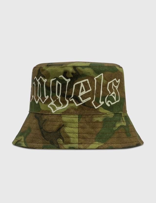 Palm Angels Military Logo Bucket Hat Green Men