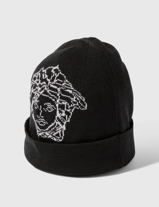 Versace Pop Medsua Wool Cap Nero - Bianco Women