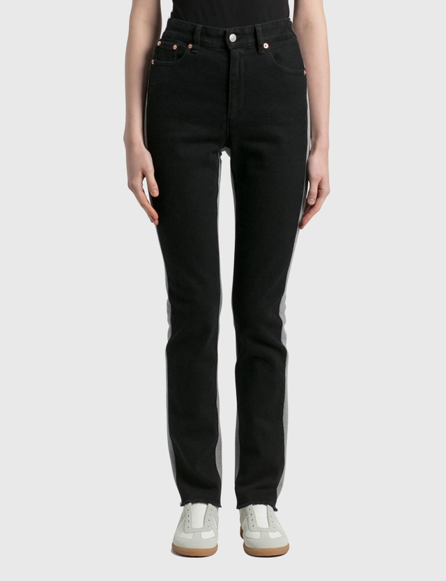 MM6 Maison Margiela Bonded Sweat Jeans Black + Grey Women