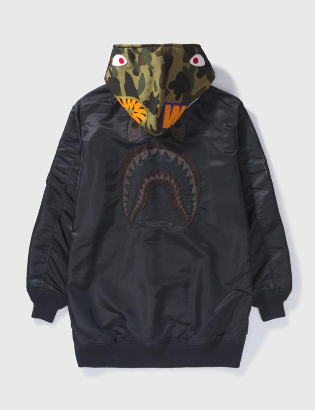 BAPE Bape Shark Hooded Long Coat Black Archives