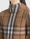 Burberry Check Stretch Jersey Hooded Top Birch Brown Ip Pttn Women