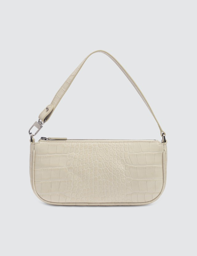 BY FAR Rachel Cream Croco Embossed Leather Bag