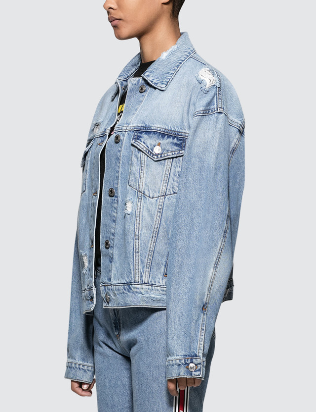 MSGM New Logo Msgm Light Blue Washed Denim Jacket