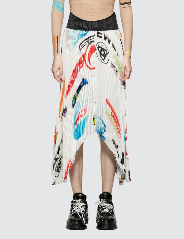 Marine Serre Formula 1 Logo Print Pleated Skirt Formula 1 - Big Logo Women