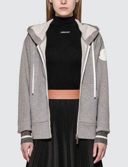 Moncler Zipped Hoody With Lurex Cuff