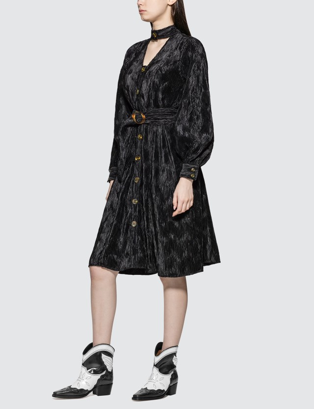 Ganni Pleated Satin Shirt Dress