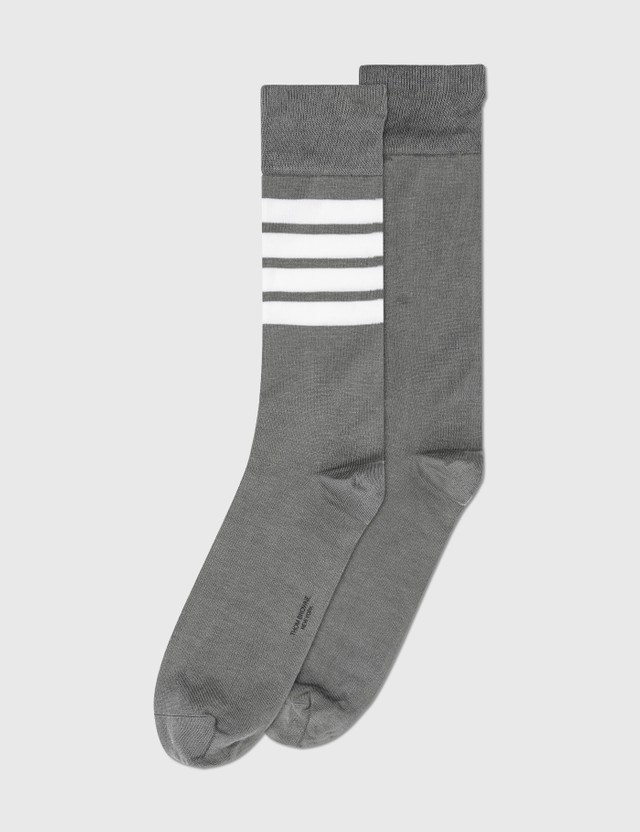 Thom Browne 4-Bar Mid Calf Socks Med Grey Men
