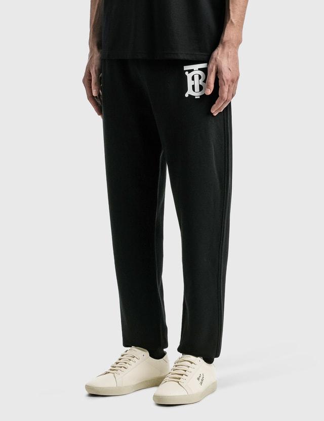 Burberry Monogram Motif Cotton Jogging Pants Black Men