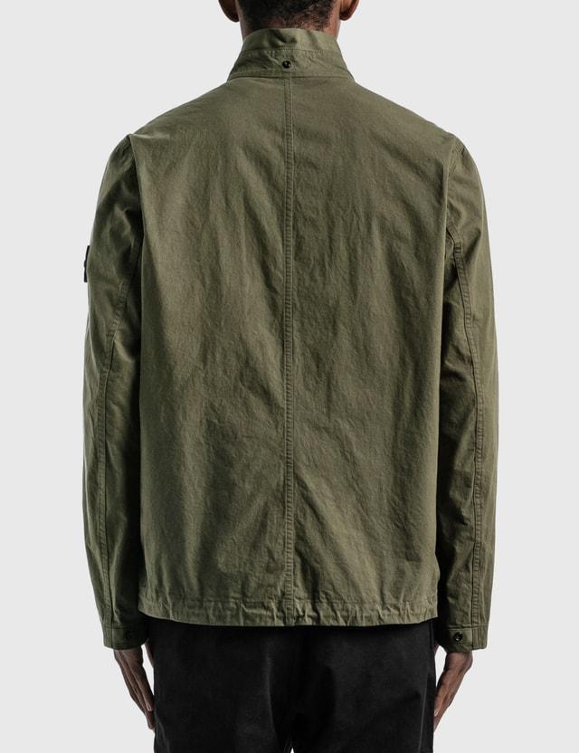 Stone Island Cotton Blended Jacket With Detachable Hood Olive  Men