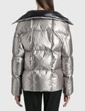 Moncler Crinkle Effect Metal Coating Jacket Silver Women