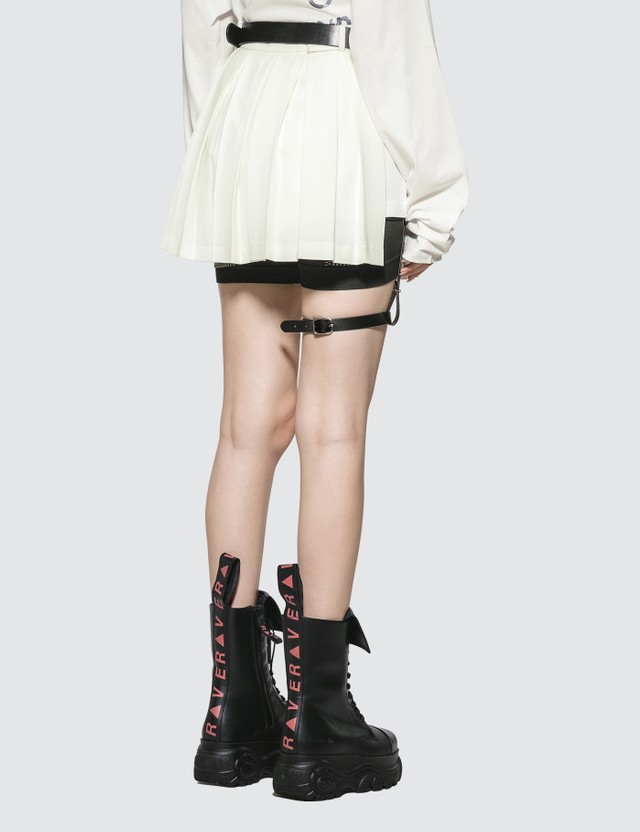 Hyein Seo Pleated Skirt with Leather Garter Belt