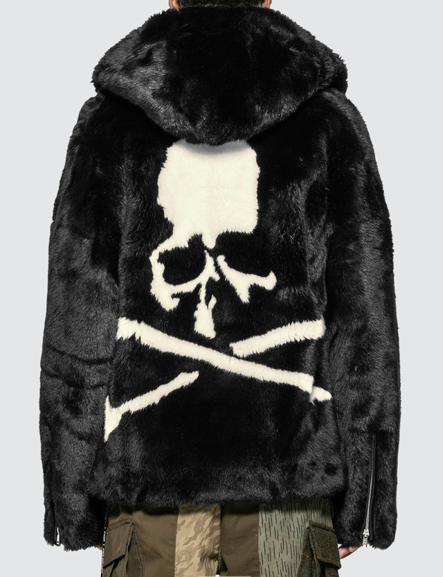 Mastermind World Faux Fur Hooded Jacket With Skull Logo