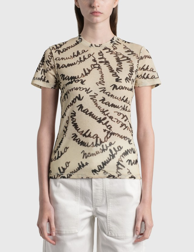 Nanushka Guy T-shirt Scribble Logo Brown Women