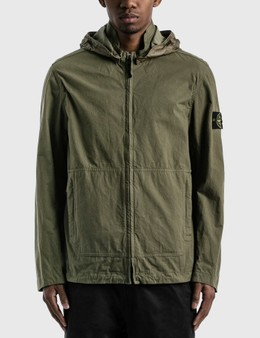 Stone Island Cotton Blended Jacket With Detachable Hood