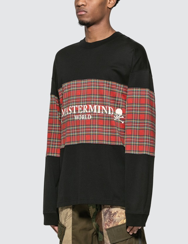 Mastermind World Tartan Check Logo Long Sleeve T-Shirt