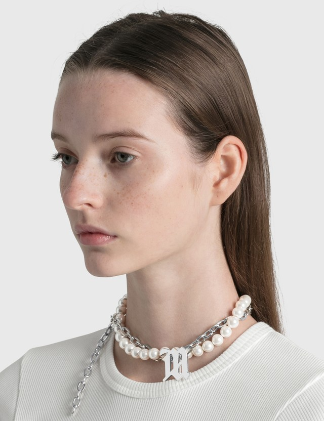 Misbhv Twisted Chain & White Pearl Monogran Necklace White Pearl Women
