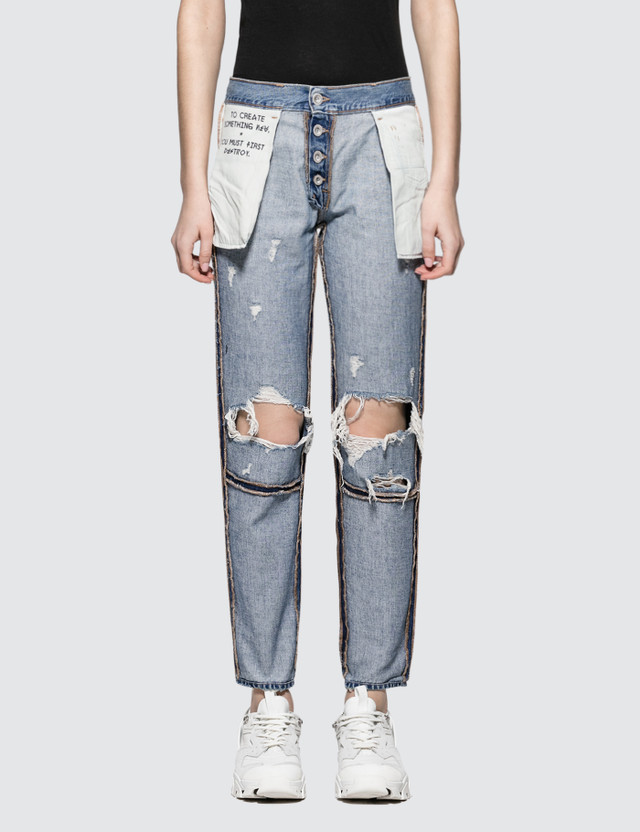 Unravel Project Vintage Denim Reverse Boyfriend Straight Jeans
