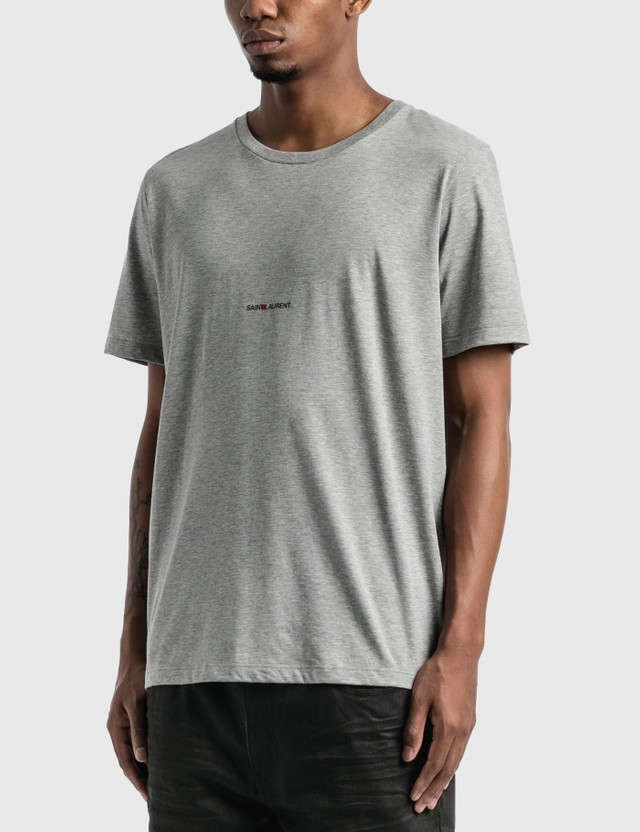 Saint Laurent Saint Laurent Logo T-Shirt Gris Chine Men