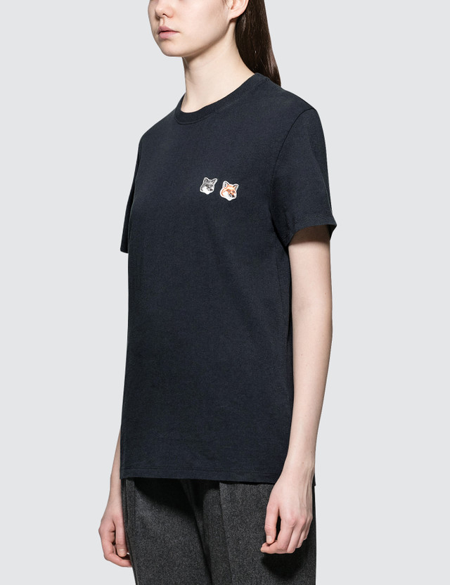 Maison Kitsune Double Fox Head Patch Short Sleeve T-shirt