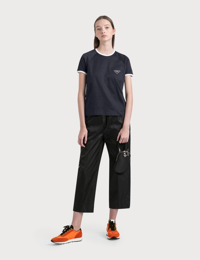 Prada Nylon Pants With White Piping