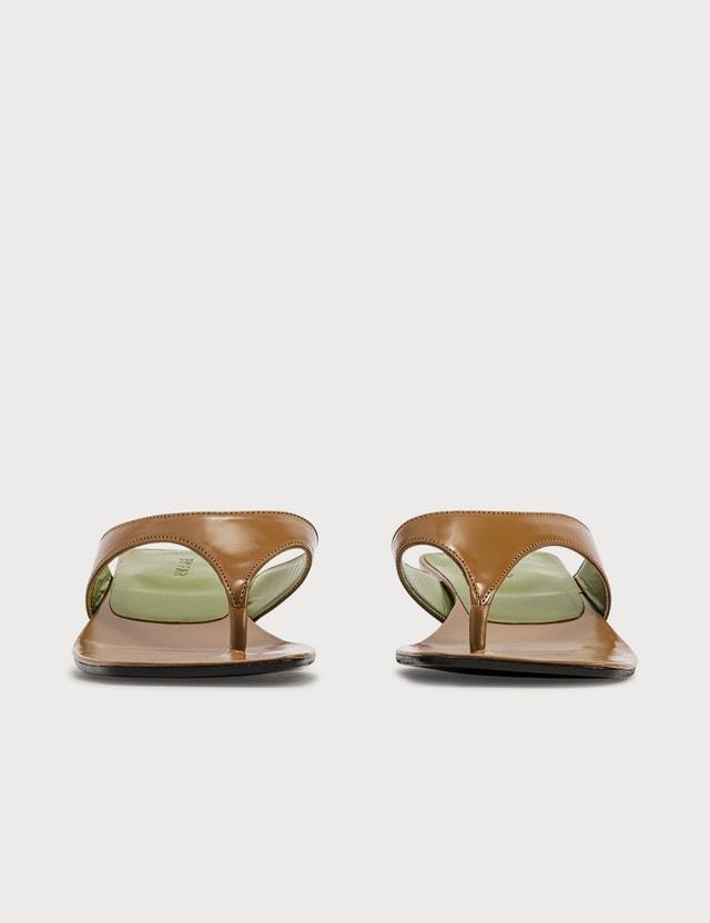 BY FAR Jack Tan Semi Patent Leather Sandals