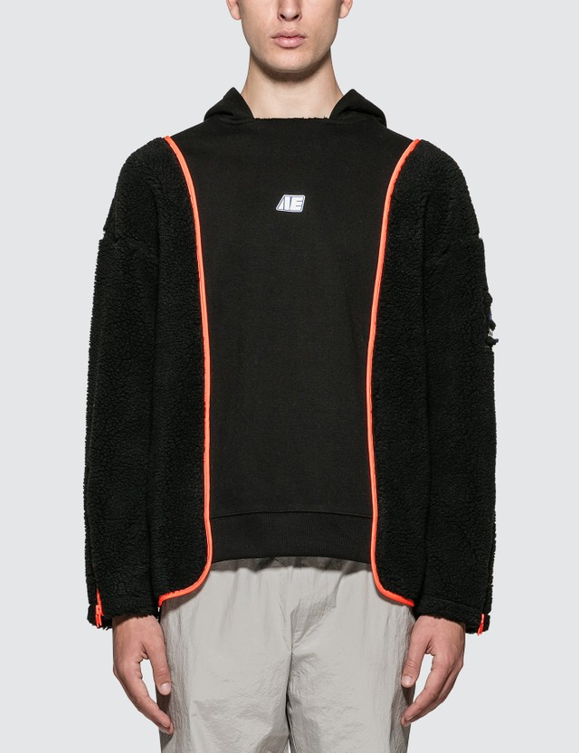 Ader Error Logo Hoodie With Shearing Sleeves Black Men