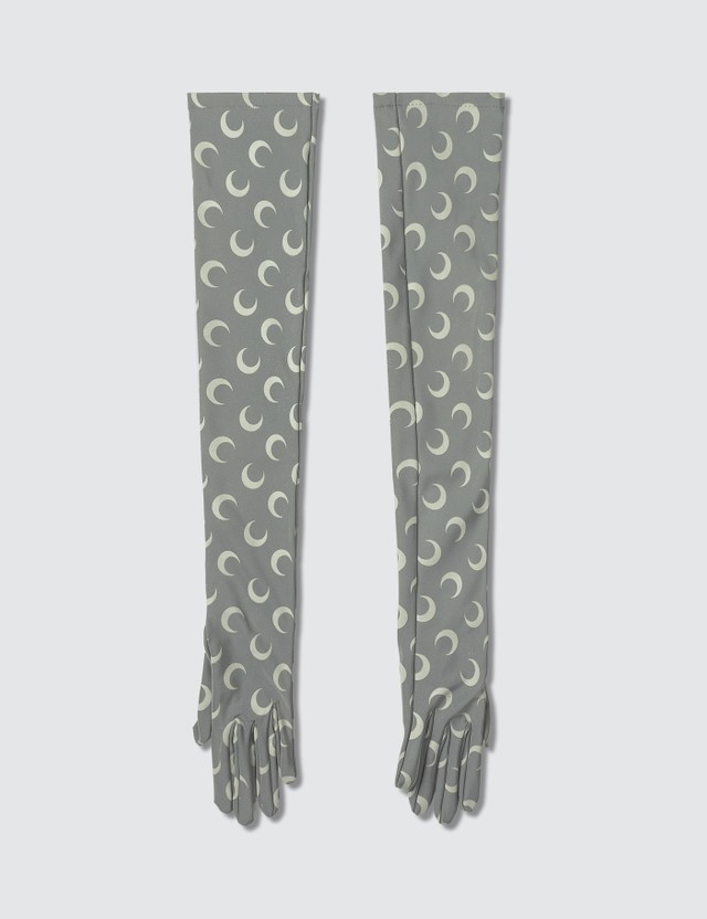 Marine Serre All Over Moon Print Long Jersey Gloves