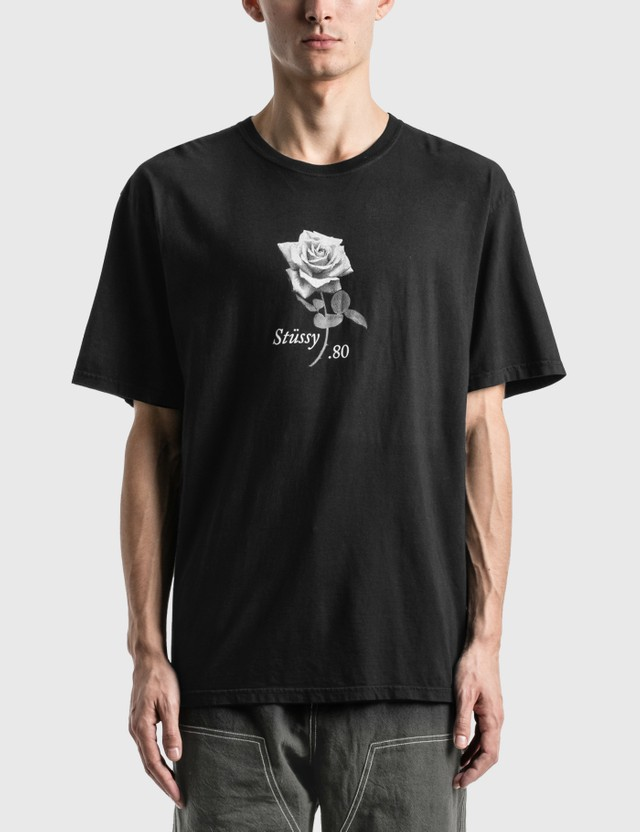 Stussy 80 Rose Pig. Dyed T-Shirt Black Men