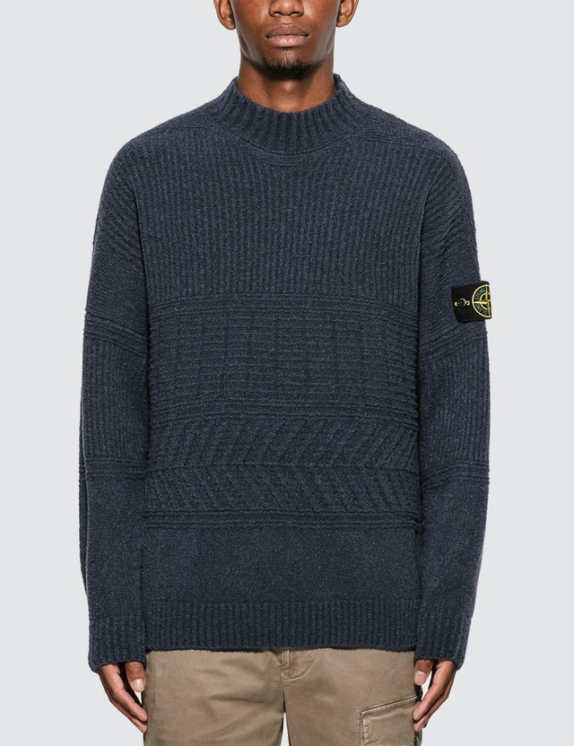 Rib Knit Sweater With Compass Logo Badge