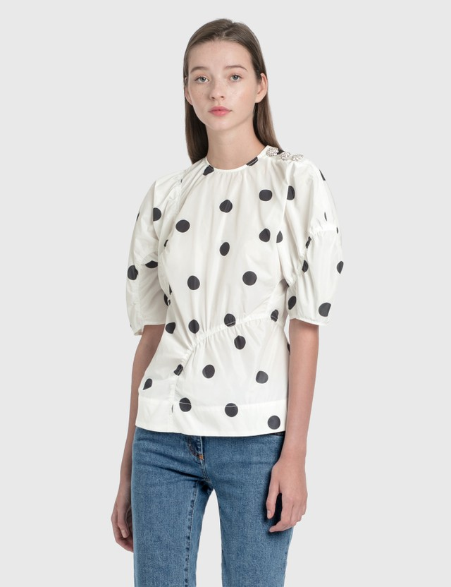 Ganni Recycled Polyester Blouse Egret Women
