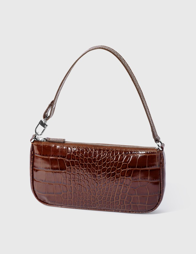 BY FAR Rachel Croco Embossed Leather Bag Nutella Women