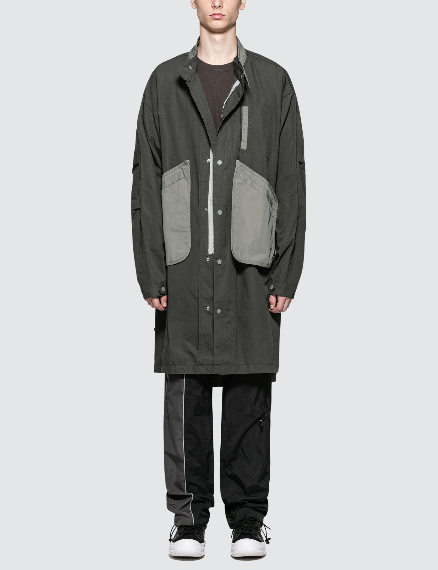 C2h4 Los Angeles Inside Out Snap Collar Human Tech Specs Parka In Grey