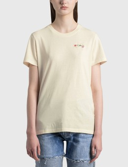 Off-White Embroidered Arrow Flowers Casual T-shirt