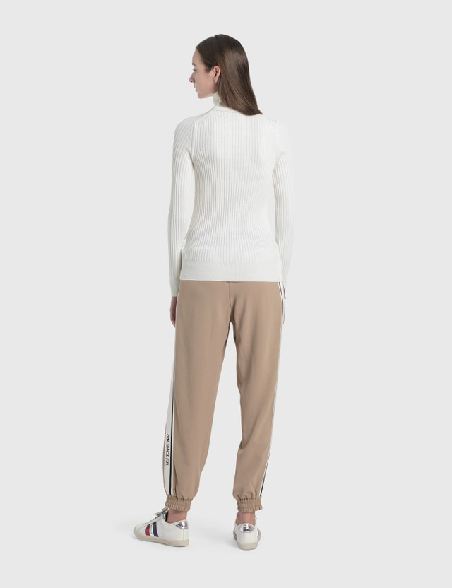 Moncler Logo Elastic Waisted Pants Beige Women